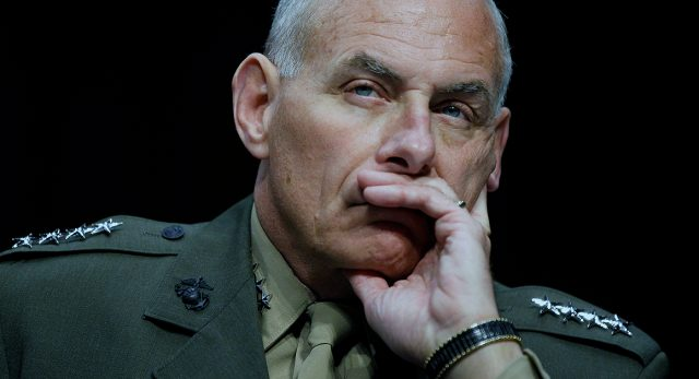 "FILE - In this March 19, 2013, file photo, US Marine Gen. John F. Kelly, commander, U.S. Southern Command listens while testifying on Capitol Hill in Washington, before the Senate Armed Services Committee. Kelly told the AP in June, 2015, that Peru's airborne smuggling is not a priority for him because less than 10 percent of the cocaine seized in the United States comes from Peru, by DEA measure. ""The drugs that are going to the United States, in my opinion, are the most important I can track,"" Kelly said. (AP Photo/Molly Riley, File)"